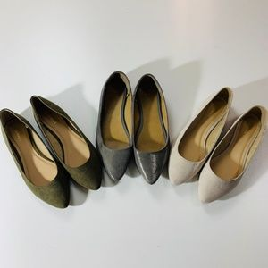 3 Pairs of shoes Gap Old Navy Green Silver Cream 7